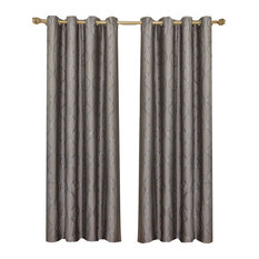 "Laguna 100% Polyester Jacquard Grommet Curtains, Set of 2, Taupe, 104""x96"""