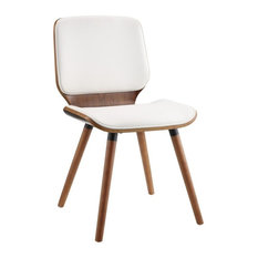 ACME Nemesia Accent Desk Chair, White and Walnut