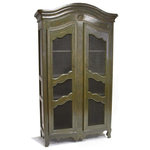 Zentique - Christopher Cabinet, Olive Green - French artistry at its best. The beautiful chicken wire doors on this distressed display cabinet feature a stylish wavy design in the center and on top. Delicate carvings and scalloped curves on the bottom and crown of the cabinet add an extra dash of elegance.