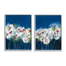 Multi-Color Abstract Floral Bouquet Flowers Nature Painting,2pc, each 11 x 14