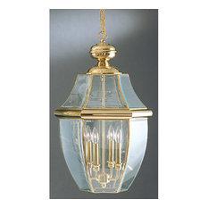 Newbury 4 Light Outdoor Pendant or Chandeller in Polished Brass