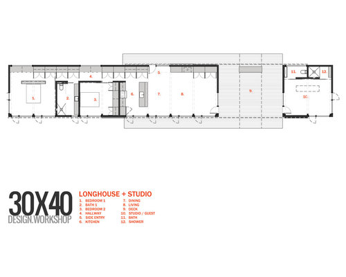 Longhouse dogtrot studio for 30x40 shop plans