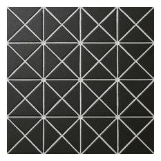 "10.13""x10.13"" Tregas Crossover Unglazed Porcelain Floor and Wall Tile, Black"