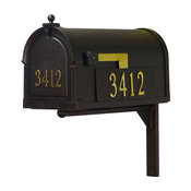 Berkshire Mailbox With Front & Side Address Numbers & Mailbox Mounting Bracket