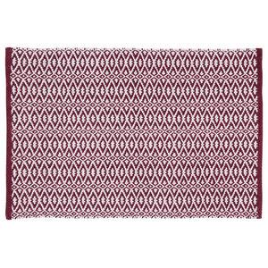 Handwoven Garnet Red Rombini Cotton Rug, 60x90 Cm