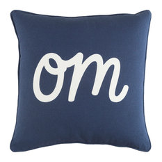 Transitional Cotton Navy and White Accent Pillow, 18  x18