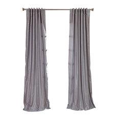 exclusive fabrics u0026 furnishings llc silver vintage textured faux dupioni silk curtain single panel
