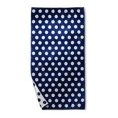 Oversized Jacquard Long-Staple Cotton Beach Towel, Blue Polka Dots