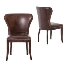 Transitional Leather Dining Room Chairs | Houzz