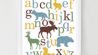 Woodland Alphabet Poster, Nursery Art