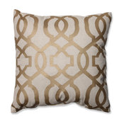 Geometric Throw Pillow, Silver and Linen
