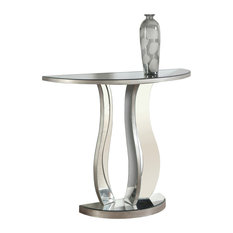 "Console Table, 36""L, Brushed Silver, Mirror"