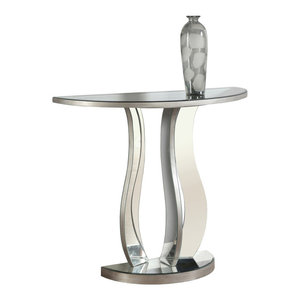 """Console Table, 36""""L, Brushed Silver, Mirror"""