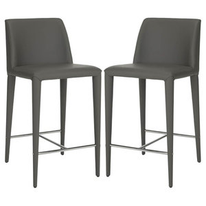 Contemporary Upholstered Extra Tall Barstool in Gray - Set of 2