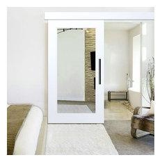 "Mirrored Handcrafted Sliding Barn Door with Mirror Insert Hardware Kit, 42""x84"","
