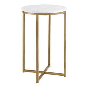 "16"" Round Side Table With Gold Metal-X Base, Marble/Gold"