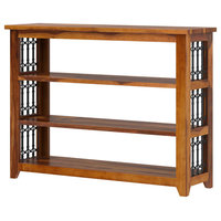 San Francisco Rustic Solid Wood & Iron Grill Bookshelf Console Table