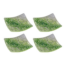 Vltava Square Glass Plates, Clear and Green, Small, Set of 4