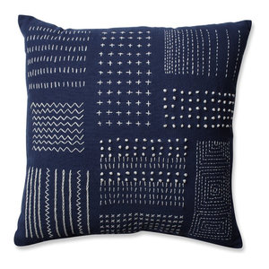 "Pillow Perfect Tribal Throw Pillow, Cream Gray, 16.5"", Navy/White"