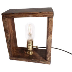 Inspirational Rustic Table Lamps Rustic Industrial Edison Bulb Box Lamp Bulb Included Oak