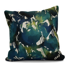 """Abstract Floral Floral Print Outdoor Pillow, Teal, 20""""x20"""""""