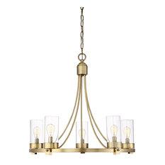 Helmsman Lighting Works - 5-Light Chandelier, Natural Brass - Chandeliers