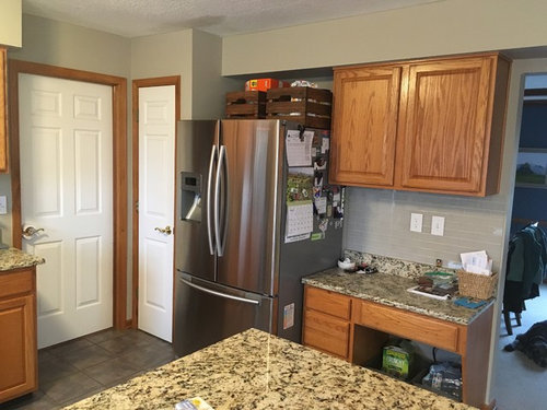 White Cabinets And Wood Trim
