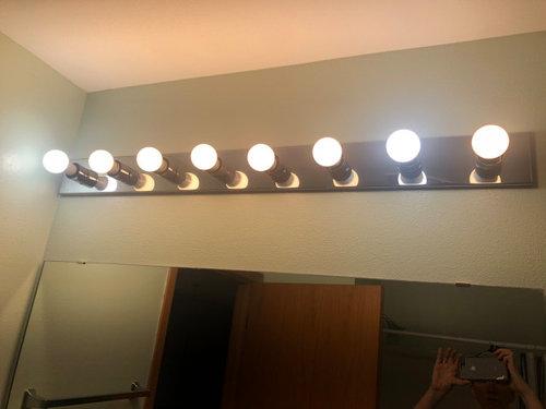 Cover Bare Light Bulbs Above Vanity, Bathroom Vanity Light Bulbs