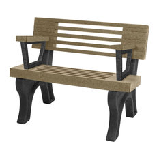 Bench, Cambridge w/Back, with Armrests, 4', Black Legs, Weathered Wood color