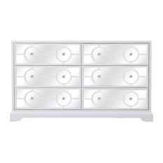 60-inch Mirrored 6 Drawer Cabinet White