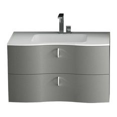 Isa Bagno Galatea 2-Drawer Vanity With Resin Washbasin, Glossy Pearl