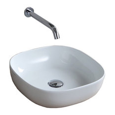 "16"" Round White Ceramic Vessel Sink"