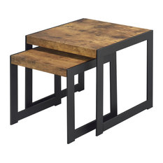 Naples Grande Avis Distressed Wood Nesting Tables Set Of 2 Coffee Table Sets