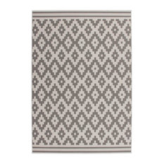 Low-Pile Patterned Area Rug, Cream and Taupe, 160x230 cm