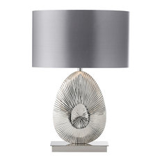 60W Table Lamp, Warm Grey Faux Satin, Polished Nickel