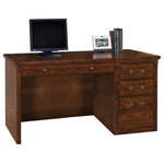 Martin Furniture - Martin Furniture Huntington Oxford Single Pedestal Computer Desk (Burnish) - The Huntington Oxford office collection boasts a transitional furniture design built with hardwood solids and veneers. It is available in a traditional oak finish or warm burnish brown finish. The Huntington Oxford collection incorporates a highly detailed finish with hand-applied distressing that includes rasping, wear sanding, dry brushing and pin holes to create texture and depth. This delivers a unique, special worn appearance of fine furniture that has withstood the test of time. The natural grain and beauty of the wood is enhanced by a multi-step, hand rubbed finish. Vertical fluting and dentil molding further add character and aesthetic appeal. This item has an Unfinished back.