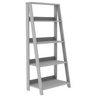 "55"" Painted Wood Ladder Bookshelf, Gray"
