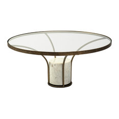 """Jacinta I 36"""" Round Glass Top Metal and Marble Pedestal Coffee Table"""