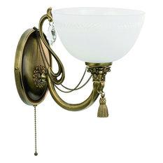 Roma Patina Brass Sculpture Rich Wall Light, Glass Shade, Swarovski Crystals