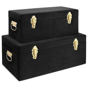 Modern Set of 2 Trunks in MDF with Velvet Upholstery and  Handles on The Side