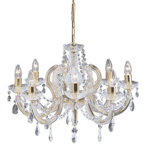 Marie Therese 8-Arm Crystal Glass Chandelier, Polished Brass