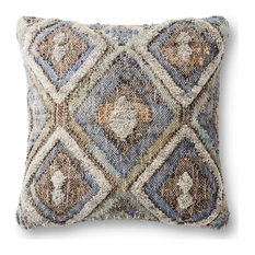 """Raised Wool Multi-Colored 22""""x22"""" Decorative Accent Pillow, Polyester/Polyfill"""