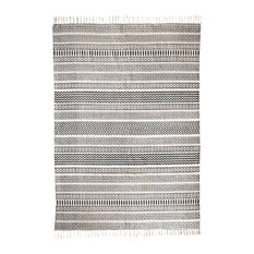 Fes Gray and Cream Geometric Rug, 5'x8'