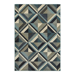 Casa Marble Rug, Blue and Gray