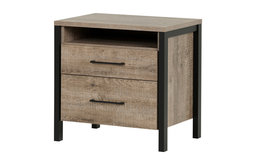 Modern Nightstand, Oak Finish