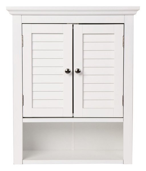 241h Wooden Bathroom Wall Storage Cabinet With Double Doors White