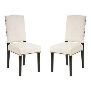 GDF Studio Stuart Beige Fabric Dining Chairs, Set of 2