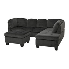 GDFStudio - 3-Piece Gotham Charcoal Fabric Sectional Sofa Set - Sectional Sofas
