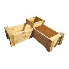 L-Shaped Cedar Multi-level Patio Planter With Full Floor