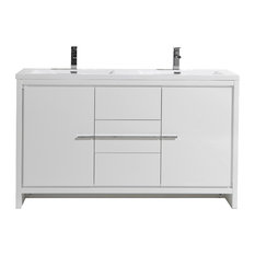 Alma-Allier 59-inch Gray Freestanding Vanity With Two Sinks White